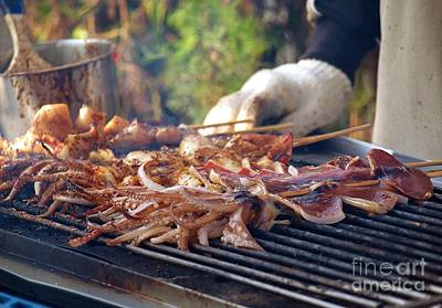 Bamboo Photograph - Squid Skewers Barbecue by Yali Shi
