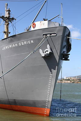 Ss Jeremiah Obrien Liberty Ship At Fishermans Wharf With Alcatraz In The Distance . Sf Ca . 7d14439 Print by Wingsdomain Art and Photography