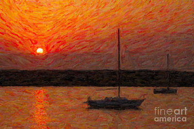 Impasto Oil Photograph - St. Augustine Sunrise Impasto by Clarence Holmes
