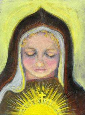 St. Clare Of Assisi All Aglow Print by Susan  Clark