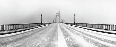 Built Structure Photograph - St. Johns Bridge In Snow by Zeb Andrews
