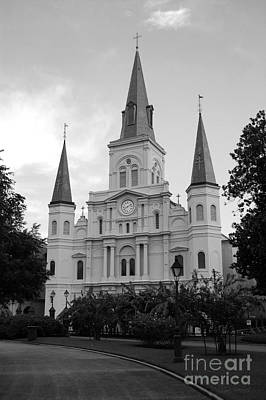 St Louis Cathedral Jackson Square French Quarter New Orleans Black And White Print by Shawn O'Brien