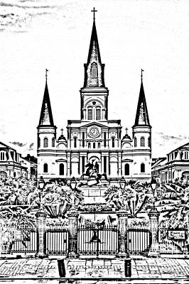 St Louis Cathedral On Jackson Square In The French Quarter New Orleans Photocopy Digital Art Print by Shawn O'Brien