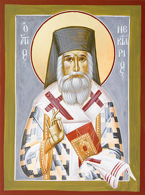 Saint Nektarios Of Aigina Painting - St Nektarios by Julia Bridget Hayes