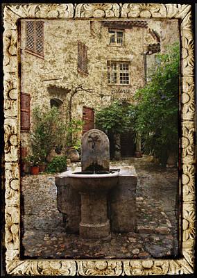 St. Paul De Vence Fountain Textured Version Print by Carla Parris