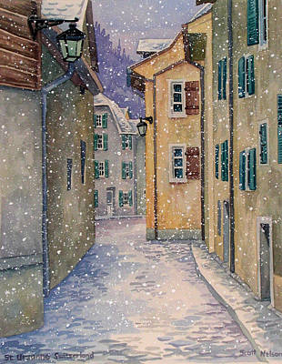 St Ursanne In Snow Print by Scott Nelson