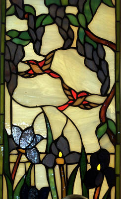 Stained Glass Humming Bird Vertical Window Print by Thomas Woolworth