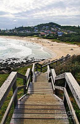 Stairway To Beach Print by Kaye Menner