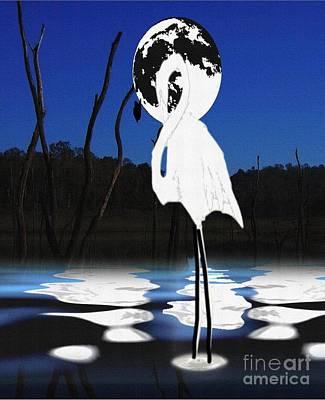 Stork Mixed Media - Standing Alone by Belinda Threeths