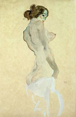 On Paper Painting - Standing Female Nude by Egon Schiele