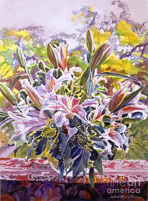 Stargazer Painting - Stargazer Lilies In Glass Bowl by David Lloyd Glover