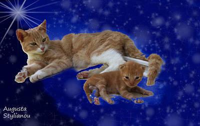 Soulful Eyes Digital Art - Starry Cat And Kitten by Augusta Stylianou