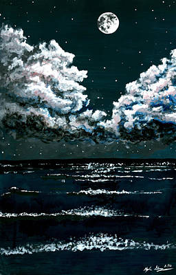 Stary Sky Painting - Starry Night Seascape by Kyle Gray