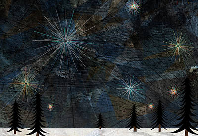 Stars Glistening In The Sky Above Pine Trees And Snow On The Ground Print by Jutta Kuss