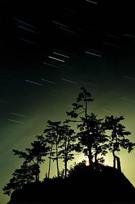 Startrails And Moonlit Fog, Canada Print by David Nunuk