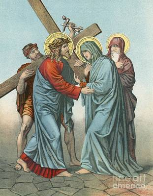 Station Iv Jesus Carrying The Cross Meets His Most Afflicted Mother Print by English School