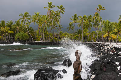 Statue At The Edge Of The Surf Print by Todd Gipstein