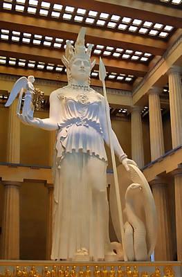 Statue Of Athena And Nike Print by Linda Phelps