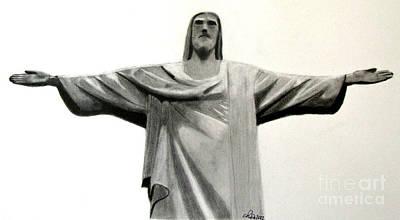 Statue Of Jesus In Rio Print by Claudiu Radulescu