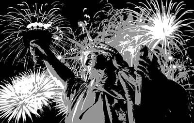 Statue Of Liberty Fireworks Bw3 Print by Scott Kelley