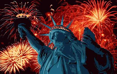 Statue Of Liberty Fireworks Color 16 Print by Scott Kelley