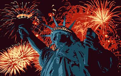 Statue Of Liberty Fireworks Color 6 Print by Scott Kelley