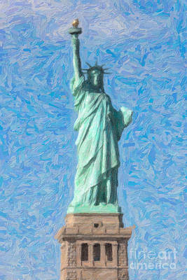 Impasto Oil Photograph - Statue Of Liberty Impasto by Clarence Holmes
