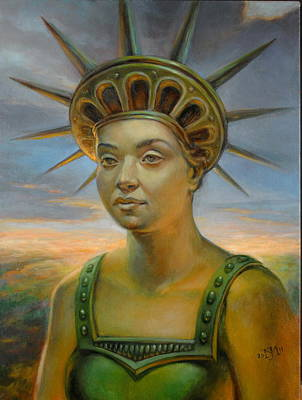 Statue Portrait Painting - Statue Of Liberty Still Alive by Jiri Mesicki