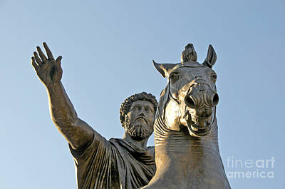 Statue Of Marcus Aurelius On Capitoline Hill Rome Lazio Italy Print by Bernard Jaubert