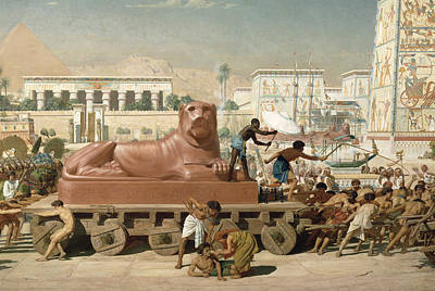 Temple Painting - Statue Of Sekhmet Being Transported  Detail Of Israel In Egypt by Sir Edward John Poynter