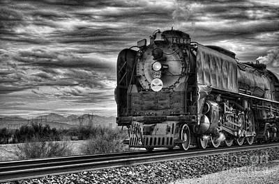 Black_white Photograph - Steam Train No 844 - Iv by Donna Greene