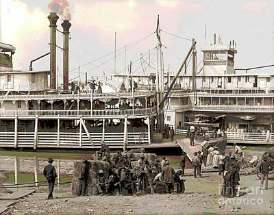 Steamboat Landing 1905 Colorized Print by Padre Art