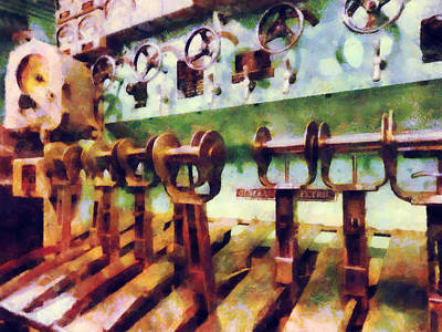 Steampunk - Levers In Underwater Vessel Print by Susan Savad