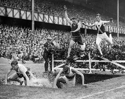 Steeplechase Race Photograph - Steeplechase Jump by Fox Photos