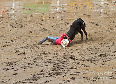 Rodeo Photograph - Steer Wrestling On A Wet And Muddy Afternoon At The Calgary Stampede by Louise Heusinkveld