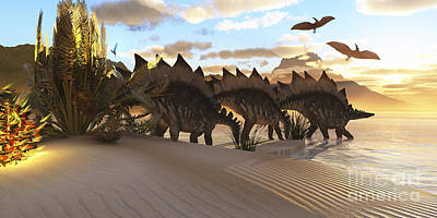 In A Row Digital Art - Stegosaurus Dinosaurs Graze Among by Corey Ford