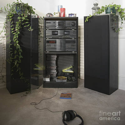 Stereo Equipment In A Living Room Print by Andersen Ross