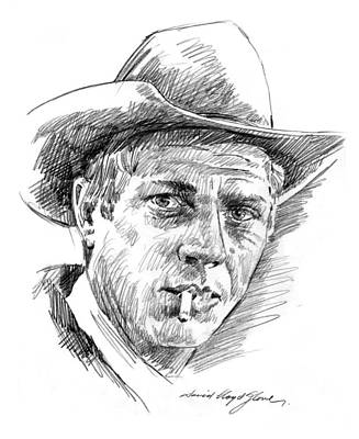 Movie Star Drawing - Steve Mcqueen by David Lloyd Glover
