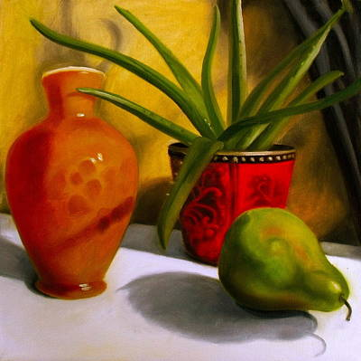 Aloe Painting - Still Life Aloe Plant With Pear by Darlene Keeffe