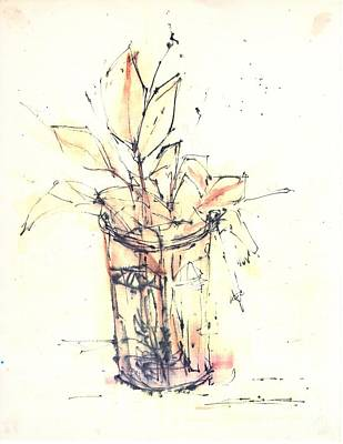 Glass Bottle Drawing - Still Life by Chiong Lin