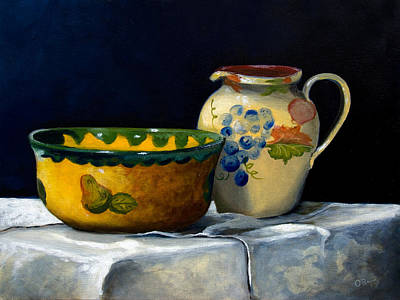Still Life With Bowl And Pitcher Print by John OBrien