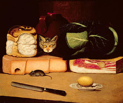 Cabbage Painting - Still Life With Cat And Mouse by Anonymous