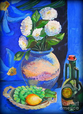 Pitcher With Flowers Painting - Still Life With Chrysanthemums by Tatjana Andre
