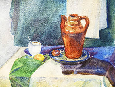 Academic Painting - Still Life With Cup And Coffeepot  by Irina Sztukowski