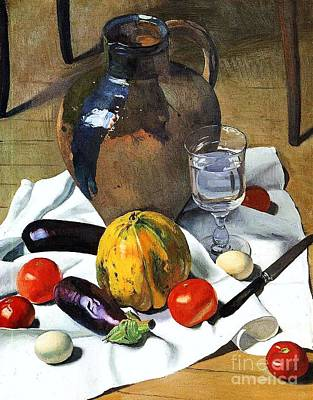 Still Life With Earthenware Jug Print by Pg Reproductions