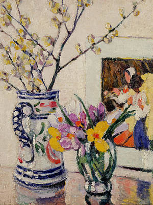 Spring Branches Painting - Still Life With Flowers In A Vase   by Rowley Leggett