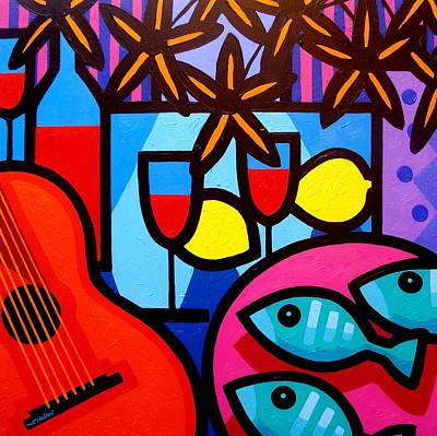 Still Life With Guitar And Fish Print by John  Nolan