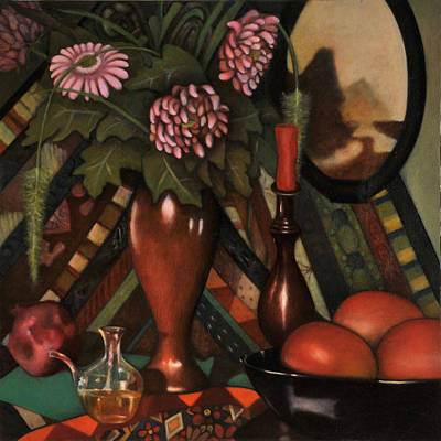 Moroccan Vase Painting - Still Life With Mangos by Jane Yuen Corich