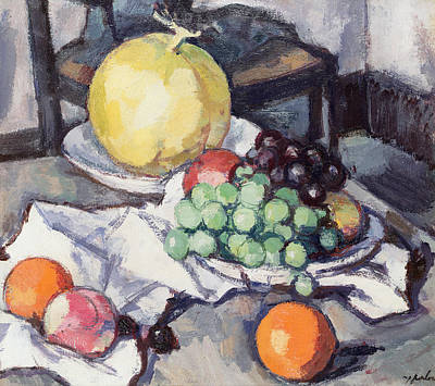Scottish Colourist Painting - Still Life With Melons And Grapes by Samuel John Peploe