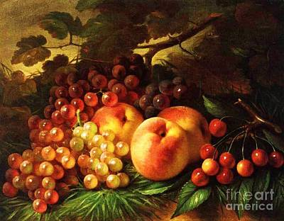 Still Life With Peaches Print by Pg Reproductions